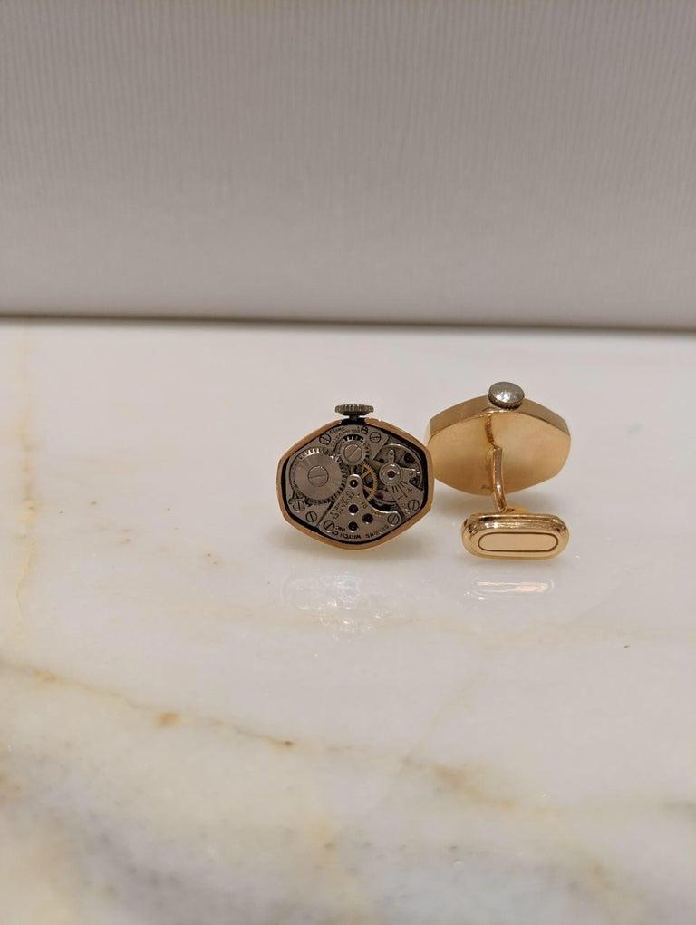 Men's Cellini Jewelers 18 Karat Rose Gold Watch Movement Cufflinks For Sale