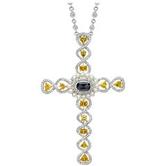 Cellini Jewelers 18 karat White Gold, 1.34 Ct. Fancy Diamond Cross Pendant
