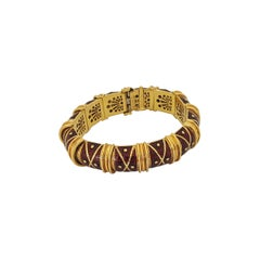 Cellini Jewelers 18 Karat Yellow Gold and Red Enamel Bracelet