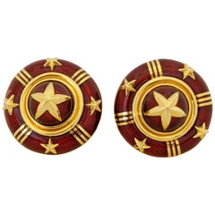 Cellini Jewelers 18 Karat Yellow Gold and Red Enamel Star Earrings