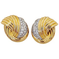Cellini Jewelers 18 Karat Yellow & White Gold, 2.24 Carat Diamond Swirl Earrings