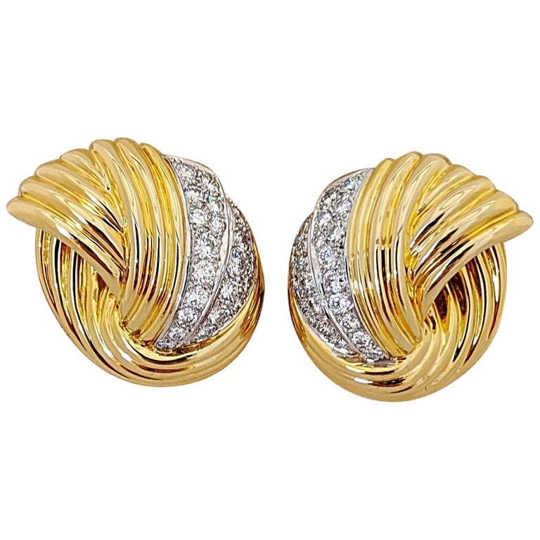 Cellini Jewelers 18 Karat Yellow & White Gold, 2.24 Carat Diamond Swirl Earrings For Sale