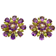 18 Karat Gold, 10.78 Carat Amethyst, 2.30 Carat Peridot and Diamond Earrings