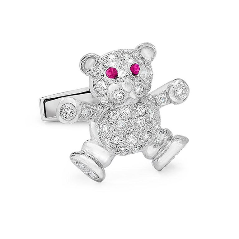 What could be cuter than diamond studs worn on a tuxedo!! This 18Kt white gold and diamond set was made exclusively for Cellini. The teddy bears are pave diamond set and have ruby eyes.  Cuff links total diamond weight  62 diamonds =.72ct , 4 rubies