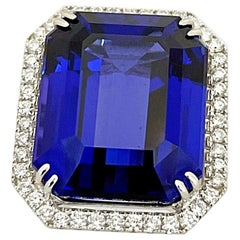 Cellini Jewelers 18KT Gold, 32.27 Carat Tanzanite Ring with 1.45 Carat Diamonds