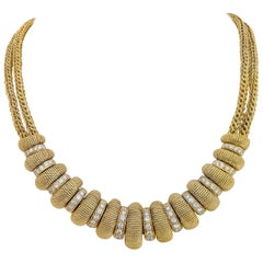 Cellini Jewelers 18KT Gold & Diamond 3.28cts. Barrel Necklace with Double Chain