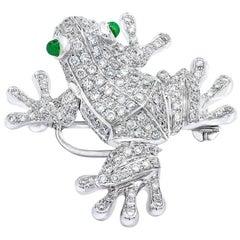 18 Karat White Gold, 1.80 Carat Diamond Frog Brooch