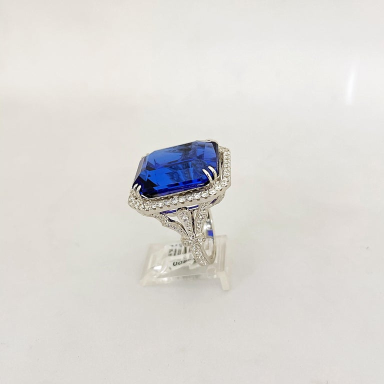 Cellini Jewelers 18KT Gold, 32.27 Carat Tanzanite Ring with 1.45 Carat Diamonds For Sale 4