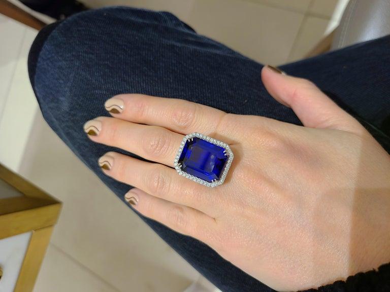 Emerald Cut Cellini Jewelers 18KT Gold, 32.27 Carat Tanzanite Ring with 1.45 Carat Diamonds For Sale
