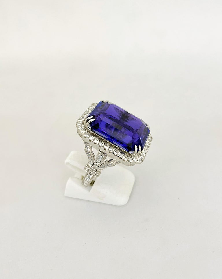 Cellini Jewelers 18KT Gold, 32.27 Carat Tanzanite Ring with 1.45 Carat Diamonds For Sale 2
