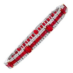 Cellini Jewelers 18KT White Gold, 6.29 ct Ruby and 2.02 ct. Diamond Bracelet