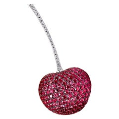 Cellini Jewelers 18 Karat White Gold, 8.85 Carat Ruby and Diamond Cherry Brooch