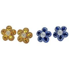 Cellini Jewelers 18Kt. White Gold Blue Sapphire Flower Power Earring