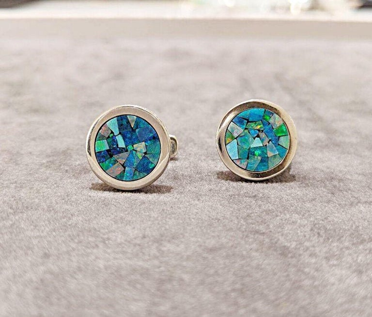 Modern 18 Karat, White Gold, Mosaic Opal Cufflinks with Coin Edge For Sale
