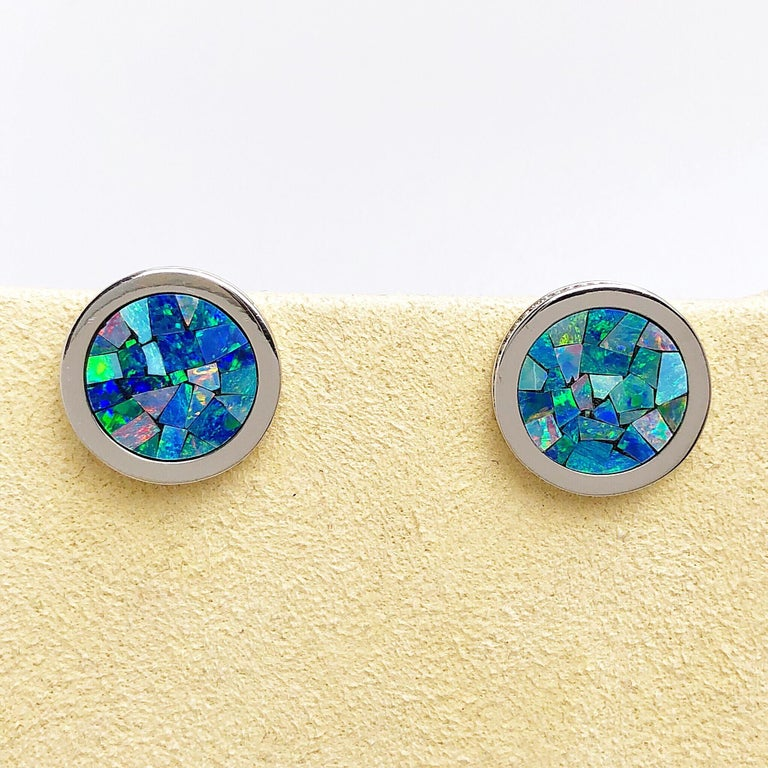 18 Karat, White Gold, Mosaic Opal Cufflinks with Coin Edge In New Condition For Sale In New York, NY