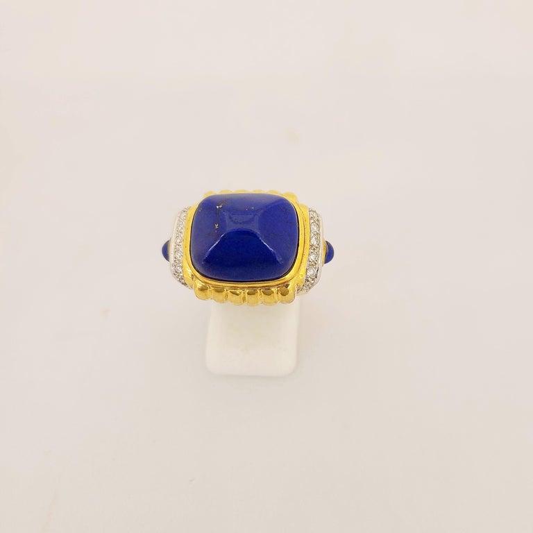 Retro 18 Karat Yellow Gold Ring with Lapis Lazuli and Diamond Ring For Sale
