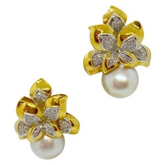 Cellini Jewelers 18KT Yellow Gold South Sea Pearl and .88 Carat Diamond Earrings