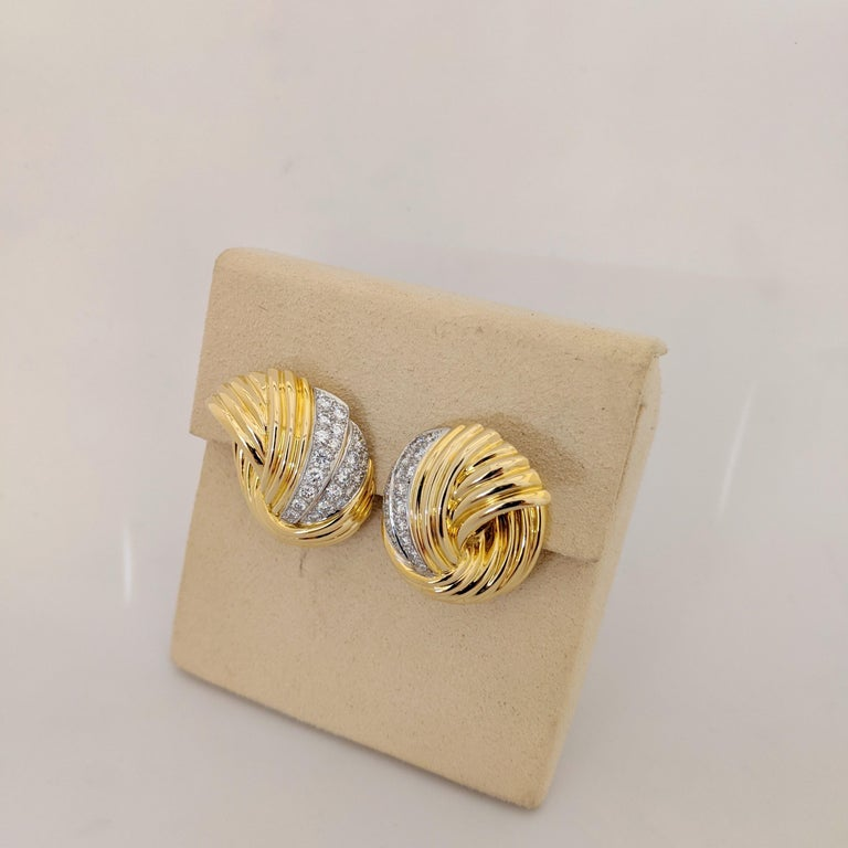 Round Cut Cellini Jewelers 18 Karat Yellow & White Gold, 2.24 Carat Diamond Swirl Earrings For Sale