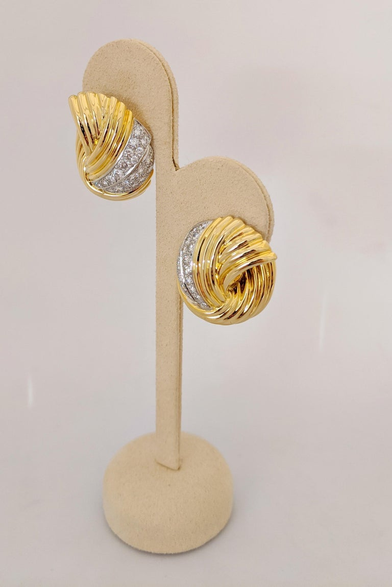 Cellini Jewelers 18 Karat Yellow & White Gold, 2.24 Carat Diamond Swirl Earrings In New Condition For Sale In New York, NY