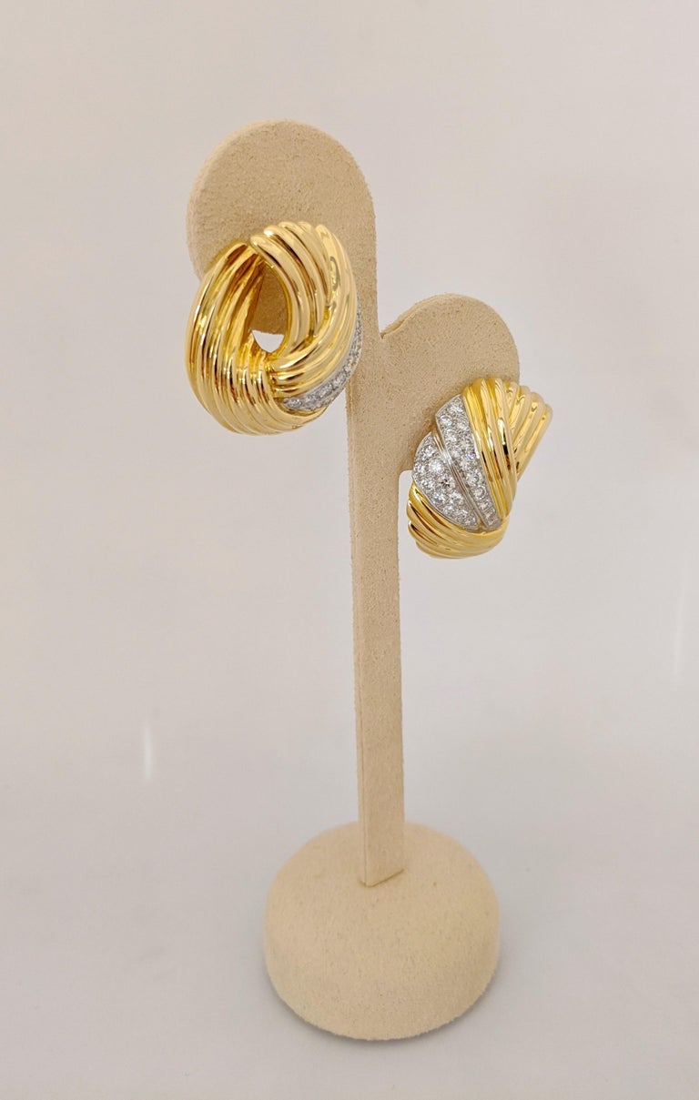 Women's or Men's Cellini Jewelers 18 Karat Yellow & White Gold, 2.24 Carat Diamond Swirl Earrings For Sale