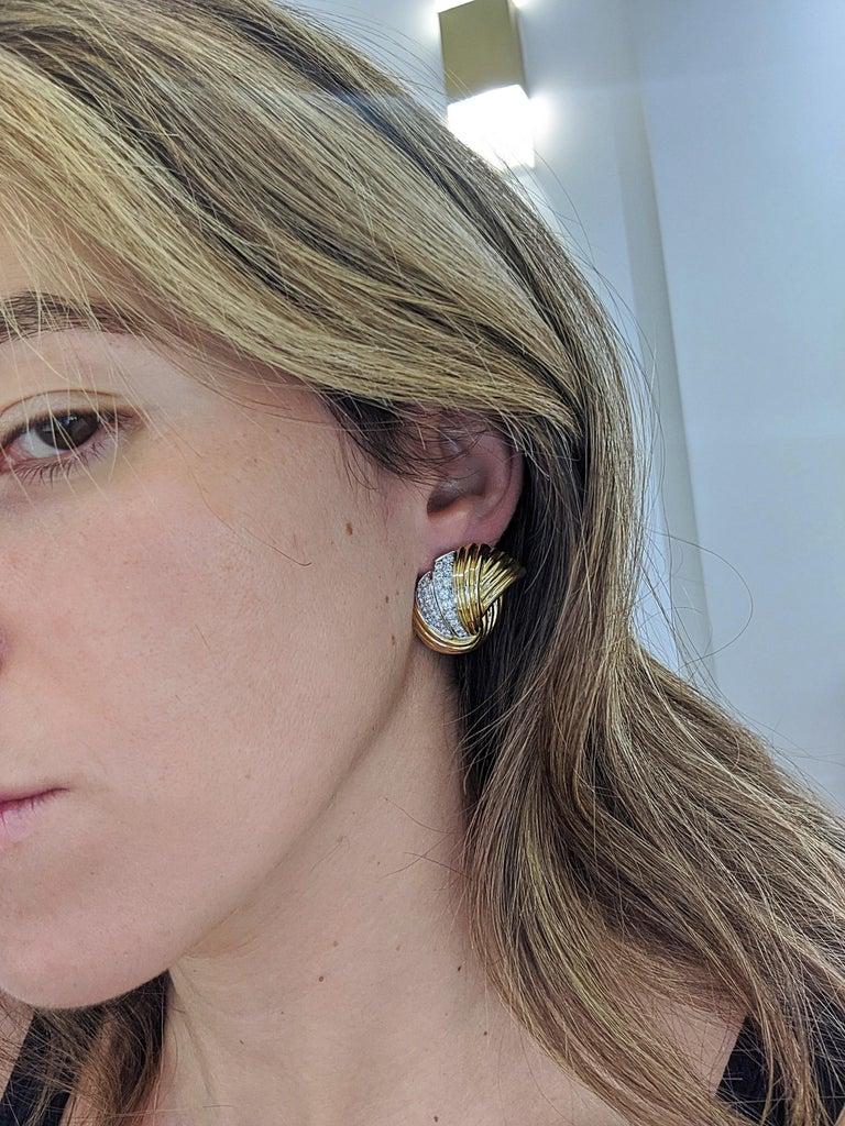 Cellini Jewelers 18 Karat Yellow & White Gold, 2.24 Carat Diamond Swirl Earrings For Sale 1