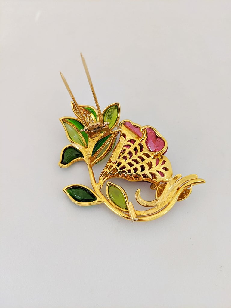 Contemporary 18 Karat Yellow Gold Lily Brooch, Carved Rubelite, Tourmaline and Diamonds For Sale