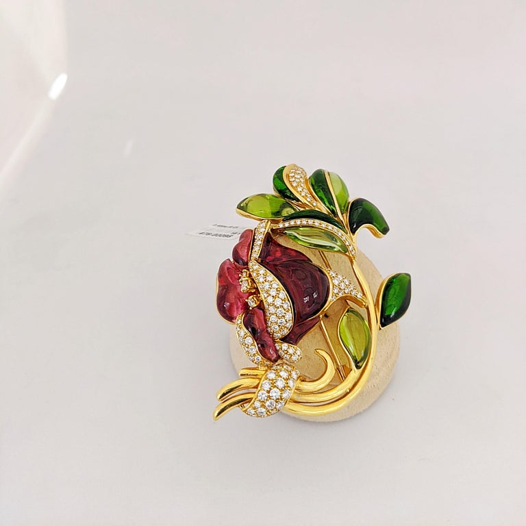 Round Cut 18 Karat Yellow Gold Lily Brooch, Carved Rubelite, Tourmaline and Diamonds For Sale