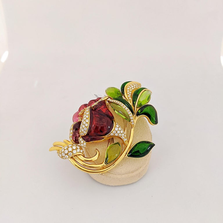 18 Karat Yellow Gold Lily Brooch, Carved Rubelite, Tourmaline and Diamonds In New Condition For Sale In New York, NY