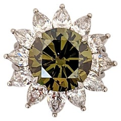 Certified 5.04 Carat Fancy Yellow Green Diamond Platinum Ring