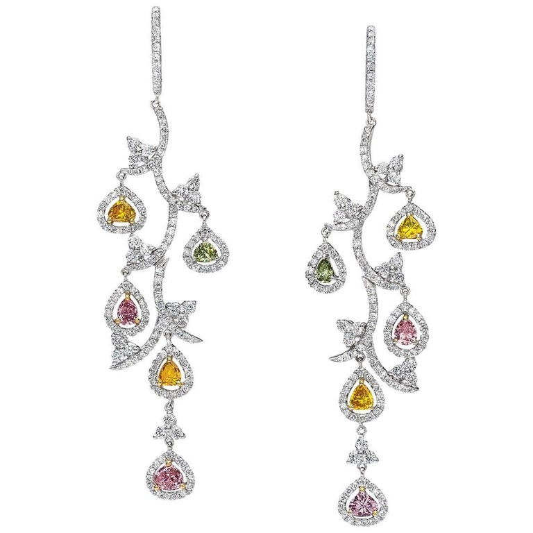 Cellini Jewelers Fancy Color Pink Yellow And White Diamond Leaf Drop Earrings For