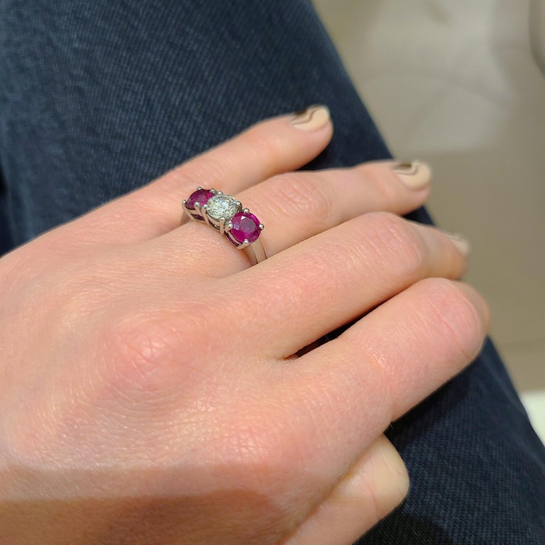 Platinum 3 Stone, 1.63 Carat Ruby and .61 Carat Diamond Ring In New Condition For Sale In New York, NY