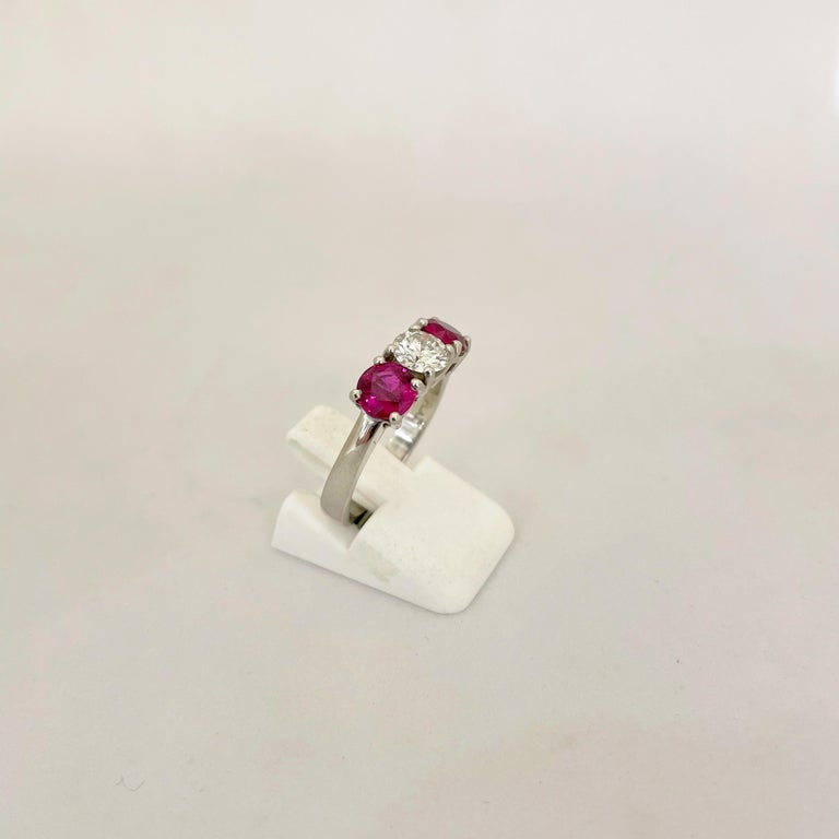 Platinum 3 Stone, 1.63 Carat Ruby and .61 Carat Diamond Ring For Sale 2
