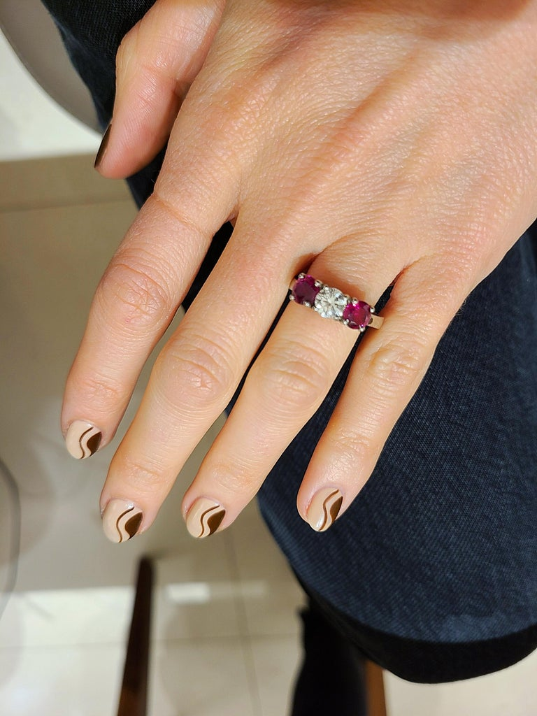 Platinum 3 Stone, 1.63 Carat Ruby and .61 Carat Diamond Ring For Sale 3