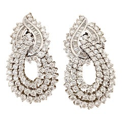 Cellini Jewelers Platinum and Diamond 7.50 Carat Hanging Earrings