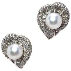 Cellini Jewelers Platinum Leaf Earrings 5.03 Carat Diamonds and South Sea Pearls