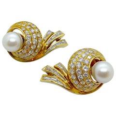 Cellini NYC 18 Karat Gold, Swirl Earrings with 4.06 Carat Diamonds and Pearls