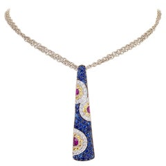 Cellini NYC 18 Karat White Gold Diamonds, Pink, Blue and Yellow Sapphire Pendant