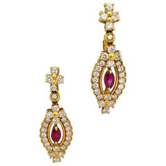 Cellini NYC 18 Karat Yellow Gold 3.09Ct. Diamonds & 1.18Ct. Ruby Drop Earrings