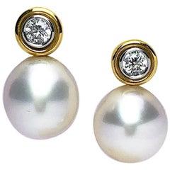 Cellini NYC 18 Karat Yellow Gold South Sea Pearl and Diamond Drop Earrings