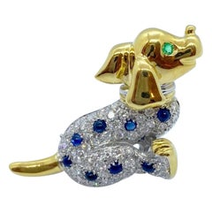 Cellini NYC 18KT YG/WG Gold Dalmatian Brooch with .98Ct. Diamonds & Sapphires