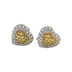 Cellini Pavé Diamond Heart Studs with .64Ct. Pavé Yellow Diamond Center