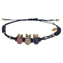3-Eulen-Armband von Cellini Pippo Perez aus 18kt Roségold mit Diamanten, Saphiren und Amethysten