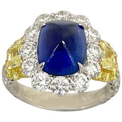 Cellini Plat/18KT 4.27Ct. Sugarloaf Sapphire, Fancy Yellow & White Diamond Ring