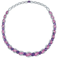 Cellini Plat/18KT 52.72Ct. of Pink & Purple Sapphires, 15.97Ct. Diamond Necklace