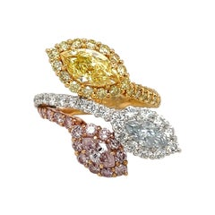 Cellini Platinum & 18kt Natural Fancy Pink, Blue, & Yellow Diamond Ring