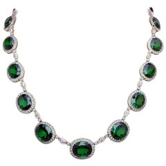 Cellini Platinum, 7.47 Carat Diamond and 70.11 Carat Chrome Tourmaline Necklace
