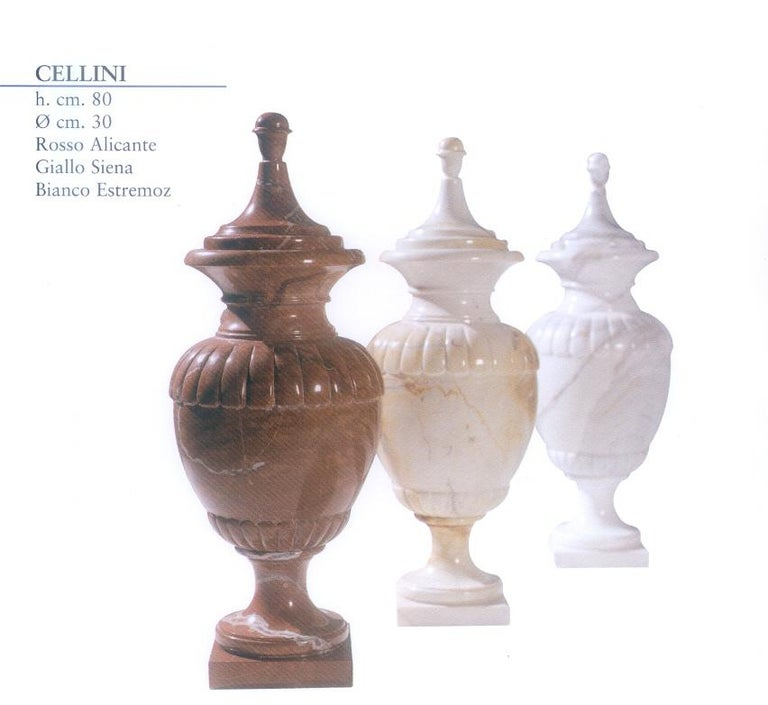Multipurpose Cellini vase in Carrara marble. Perfect for garden or home decor.