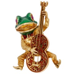 Cellino 18 Karat Yellow Gold Frog with Guitar Brooch/Pin