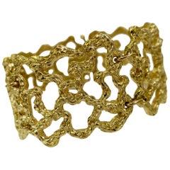 Cellino Gold Modernist Wide Bracelet, circa 1970