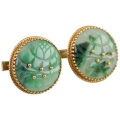Cellino Imperial Jade 18 Karat and 14 Karat Round Yellow Gold Cufflinks